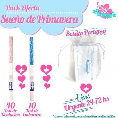 "Pack ""Sueño de primavera"" 50 ovulacion + 10 embarazo + Portatest + Nacex 24hs"