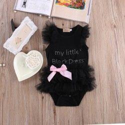 Bodys bebe tutú negro con lazo rosa